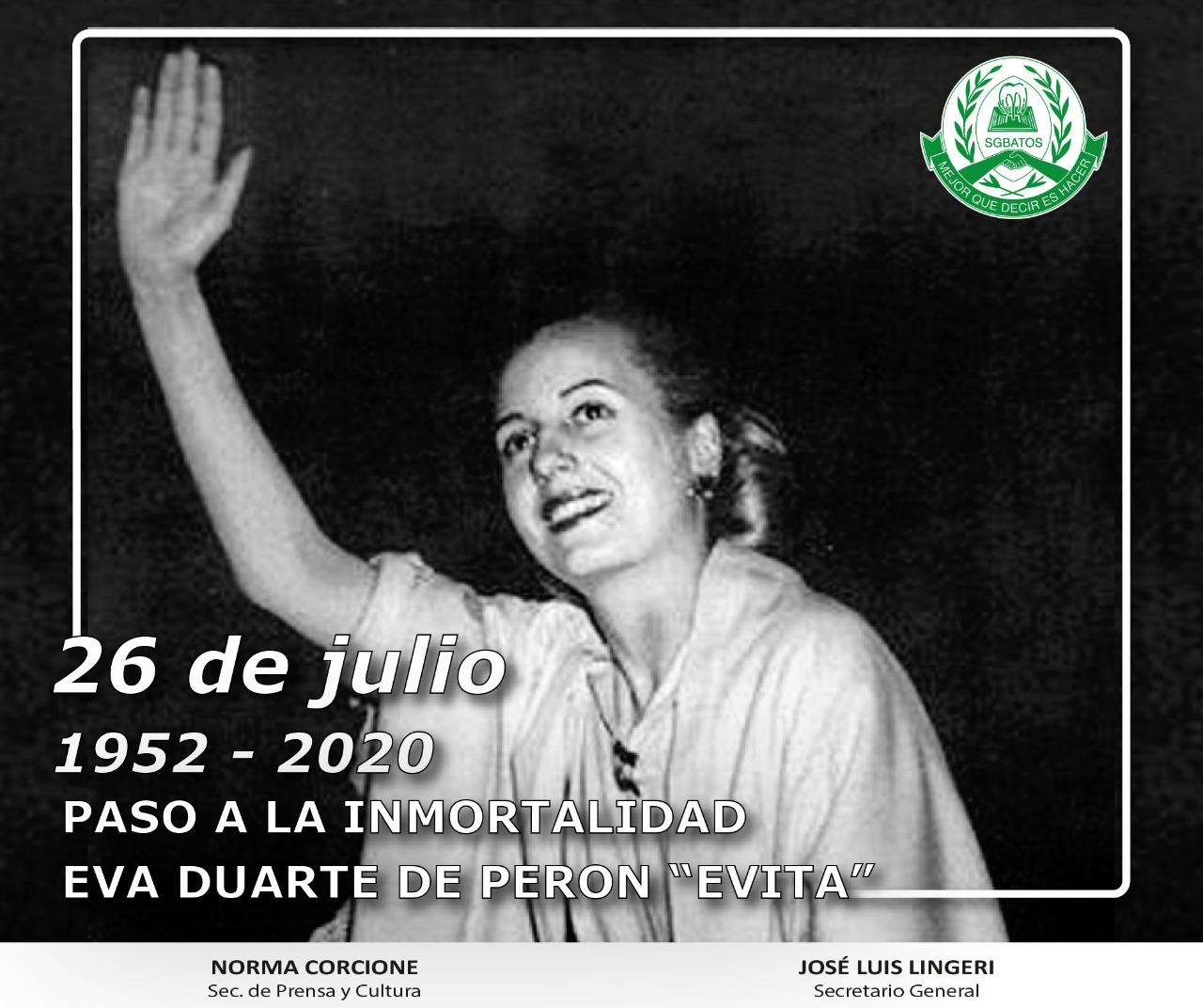26 de Julio – Paso a la Inmortalidad de Evita