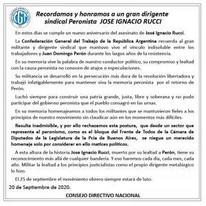 Comunicado CGT – Cro. José Ignacio Rucci