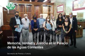 Lee más sobre el artículo MEMORIA, VERDAD Y JUSTICIA EN EL PALACIO DE LAS AGUAS CORRIENTES