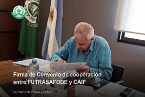 Firma de Convenio de cooperación entre FUTRASAFODE y CAIF