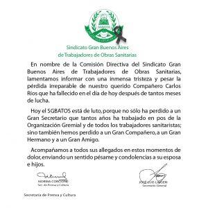 Fallecimiento del Compañero Carlos Ríos