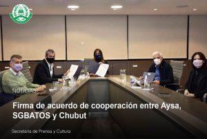 Firma de acuerdo de cooperación entre AySA, SGBATOS y Chubut