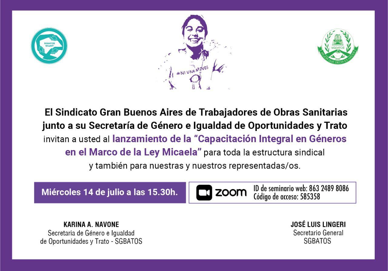 """Lanzamiento: """"Capacitación Integral en Géneros -Ley Micaela"""""""