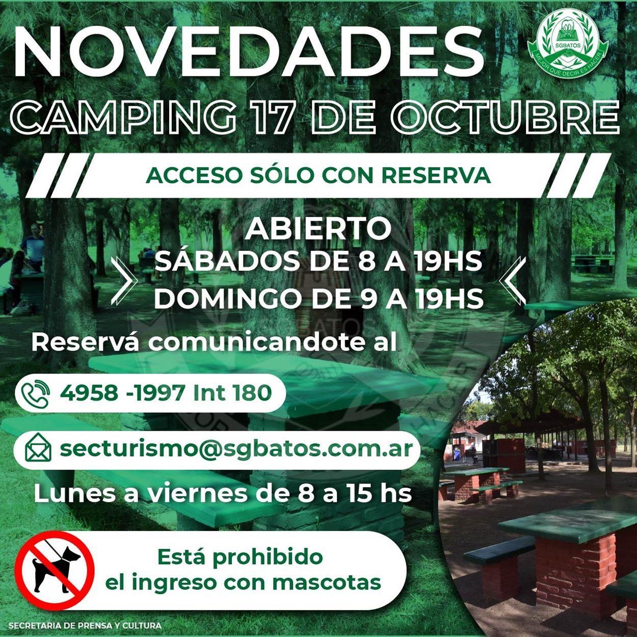 Novedades Camping 17 de Octubre
